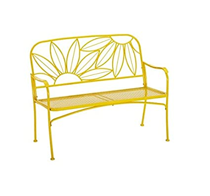 Outstanding Mainstays Hello Sunny Outdoor Patio Bench With Armrests Rounded Corners And A Sturdy Frame Enhances The Backrest That Greets You Your Family And Machost Co Dining Chair Design Ideas Machostcouk