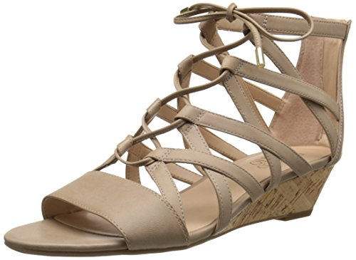 Franco Sarto Women's L-Brixie Wedge Sandal, Black, 7 M US Taupe