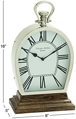 Deco 79 Stunning Steel Wood Table Clock