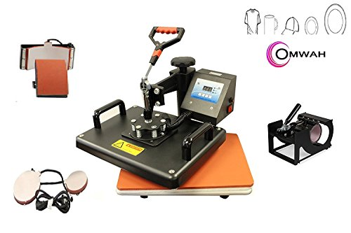 5 IN 1 SWING AWAY PRINT SUBLIMATION HEAT PRESS TRANSFER MACHINE T-SHIRTS MUGS HATS 2 PLATE SIZES