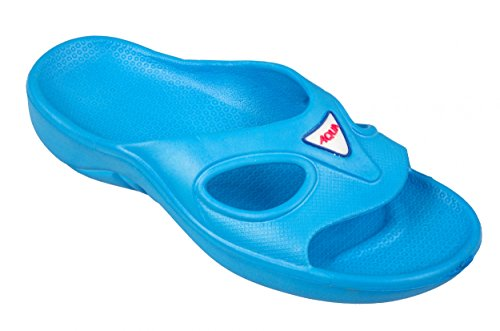 AQUA-SPEED® CORSICA Beach Slides para Señora (Navy Azul Zapatos de ducha Suela de antideslizante Con Piscina Sea Holiday + UP®-Etiqueta engomada) Hellblau 02