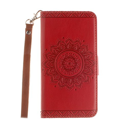 t Unique Strap/Rope Pressed Flower Pu Leather Magnetic Closure Flip Wallet Case Cover with Stand Compatible with Samsung Galaxy J3(2015)-Flower,Red ()