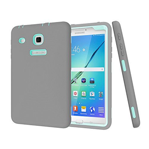 Darmor Shop Heavy Duty PC+Silicon Hybrid Protective Three Layer Armor Defender Full Body Protective Case For Galaxy Tab E 8.0-Inch SM-T377, Gray and Aqua by Darmor Shop
