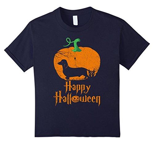 Kids MINIATURE DACHSHUND In Pumpkin Happy Halloween T-shirt 12 (Halloween Costumes For Miniature Dachshunds)