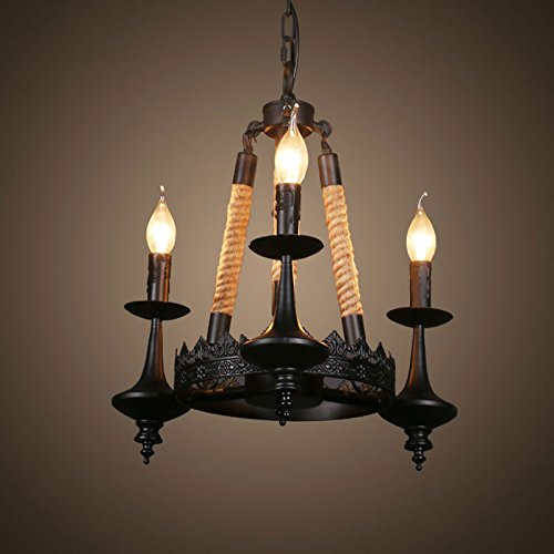 D3 Light Pendant (DP-Home Textiles 3-Light Iron Built Matte Black Vintage Rope Chandelier (DK-A-8121-D3))
