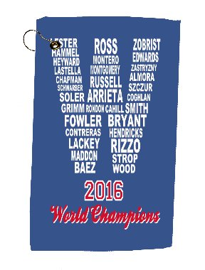 Velour Bag Towel (Cubs 2016 Champions Fly the W Microfiber Velour 11x18