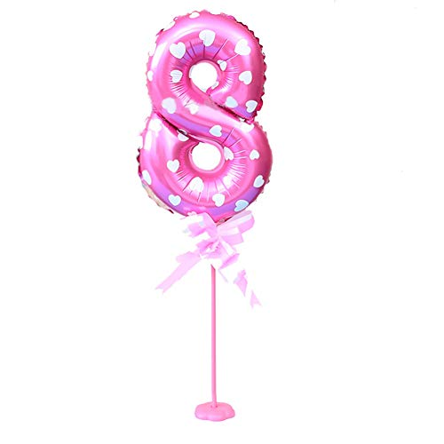 CactusNumber 0-9 Aluminum Foil Balloon with Base Stand Wedding Birthday Party Decor - Red 8*