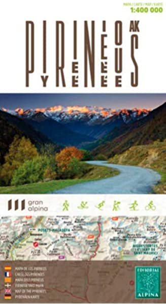 Pirineos, mapa de carreteras. Escala 1:4000.000. Editorial Alpina. GRAN ALPINA - Divers: Amazon.es: Alpina, Editorial Alpina: Libros