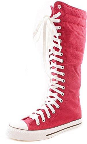 Women's Knee High Punk Sneaker Boots Punk-Hi Fuchsia, 10