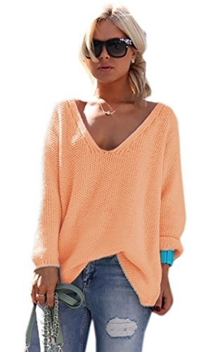 Couleurs Manches Sweater Jumper Pull Pullover Longues Col de V Abrikot Beaucoup Mikos Femme 617 wafqPpH