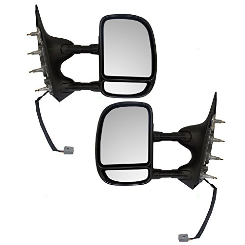 Driver and Passenger Power Side View Double Swing Mirrors Telescopic Dual Arms Replacement for Ford Van 9C2Z17683CA ()