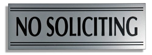 JP Signs - No Soliciting Sign – 9 X 3 Inch Engraved Premium Office Signage for Door (Silver / Black) – Not a Sticker – Keeps Unwanted Visitors Away – Highly Noticeable – Elegant for House, Office, Cafe – Professional Material – 20 Years Guarantee.