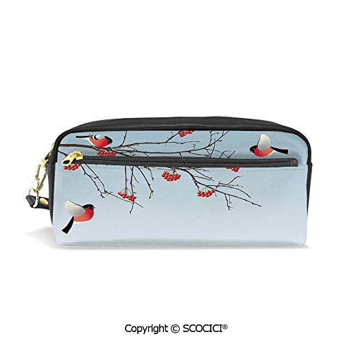 Printed Pencil Case Large Capacity Pen Bag Makeup Bag Bullfinch Birds Flying and on Branches Winter Themed Graphic Design Decorative for School Office Work College - On Reviews Chocolate Fountain