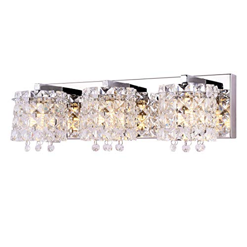 - Vanity Light,Bathroom Light Fixtures,Wall Sconce with Crystal Drops,Polished Chrome Finish Bathroom Lighting, 3-Light Vanity Light Over Mirror