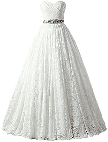 Solovedress Women's Ball Gown lace Princess Wedding Dress 2017 Sash Beaded Bridal Evening Gown (Customized Size,White)