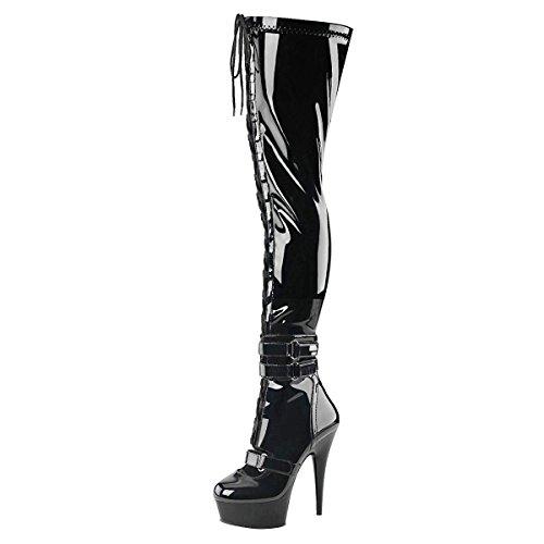Heels-Perfect - Botas de Material Sintético para mujer Schwarz (Schwarz)