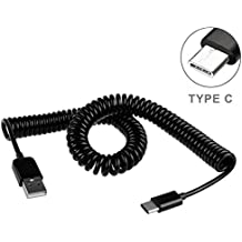 Black Coiled Type-C Cable Rapid Charger Sync USB Wire USB-C Power Data Transfer Cord for Motorola Moto Z Droid, Force, Z2 Force - Samsung Galaxy Note8, S8, S8+, S9, S9+ - Samsung Galaxy Tab S3 9.7