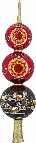 Metzler Brothers Red Russian Finial Polish Glass Christmas Tree Topper 14 Inch by Joy To The World