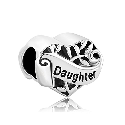 (CharmSStory Silver Plated Grandma/Wife/Sister Heart I Love You Beads for Bracelets (Daughter))
