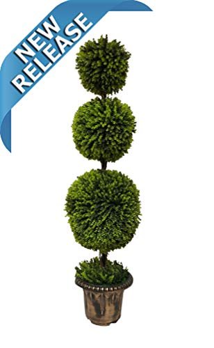 Bird Topiary (AMERIQUE Gorgeous 5 Feet Dense Triple Ball-Shaped Boxwood Topiary Artificial Tree Silk Plant with UV Protection Indoor and Outdoor, with Decorative Pot, Feel Real Technology, Super Quality, 5', Green)