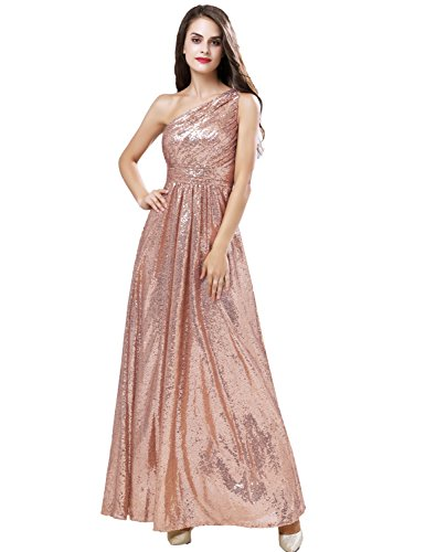 Belle House Women's One Shoulder Sequins Prom Dresses 2018 Long Bridesmaid Rose Gold Mermaid Evening Gown Vintage Greek