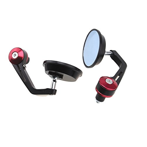 (LLL Flexible Motorcycle Oval Round Back Rear View Mirror Handle Bar End 7/8