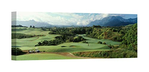 Princeville Golf - Easy Art Prints Panoramic Images's 'High angle view a golf course, Princeville Golf Course, Princeville, Kauai County, Hawaii, USA' Premium Canvas Art - 36