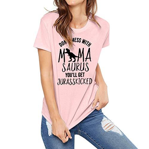 Pumsun Women's Dinosaur Letter Print Short Sleeve T-Shirt Tops Ladies Blouse (Pink, M) ()
