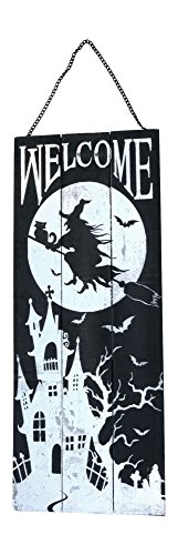 Large Wooden Black and Silver Witch Halloween Welcome Sign Wall Decoration (Large Wooden Halloween Decorations)