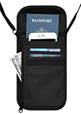 Travelambo Neck Wallet and Passport Holder Travel Wallet with RFID Blocking for Security