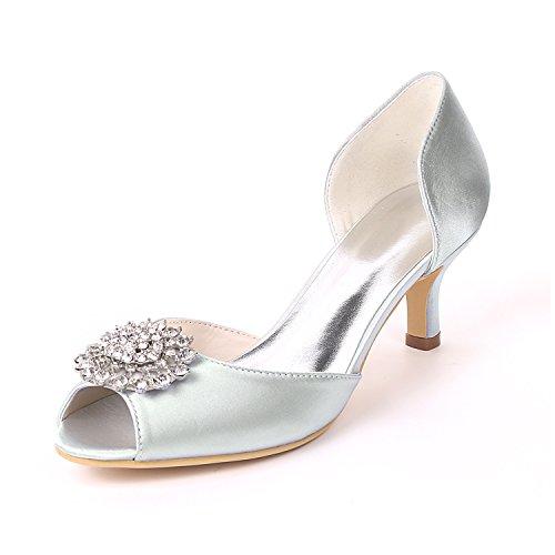 Flower-Ager Y1195-03B Para Mujer De Satén Nupcial Prom Prom Rhinestone Dama De Honor Low Heel Ladies Party Court Shoes Silver