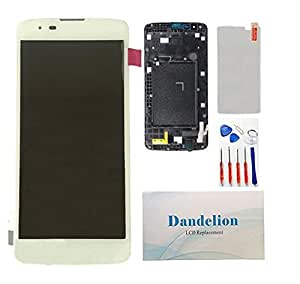 DANDELION For LG Tribute 5 K7 LS665 LS675 MS330 Full LCD Display Touch Screen Digitizer Assembly+ Frame Replacement Part Tools (white)