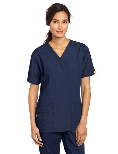 Pocket Scrub Top (WonderWink Women's Scrubs Bravo 5 Pocket V-Neck Top, Navy, Medium)