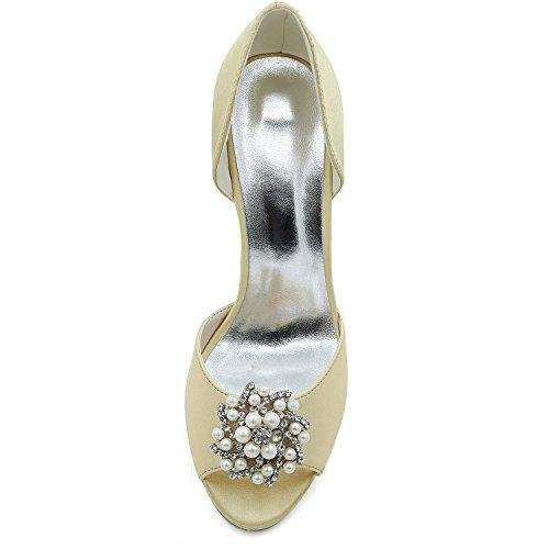 di Donna Mano Elobaby Bassi Tacco da Sposa Scarpe Perle 9cm Vestito Raso Sposa Tacchi da A da Gold Piattaforma 4wv1AB