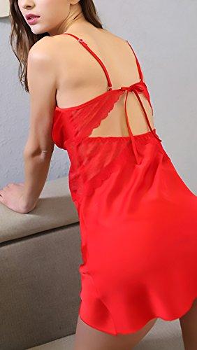 Backless Homewear Lingerie Donna Sleepwear Da V Di Erotici Notte Smanicato Pigiama Cinghia Profondo In Camicia Rossi Estivo Vestiti Pizzo Targogo Spaghetti twTvanUqU