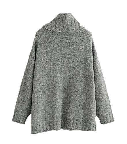 Invierno Cálido Suéteres E Bolsillo Gray Ljxwh Otoño Mujer Decoración De Cuello Alto wUBXYYxqgZ
