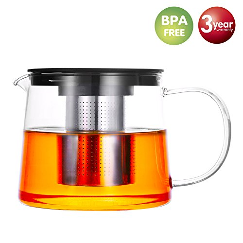 Teapot Tea Pot Glass Teapot Infuser Tea Kettle Tea Maker Stainless Steel Strainer PP Lid Blooming Loose Leaf Tea Mug 34oz (Teapot Bags Tea For)