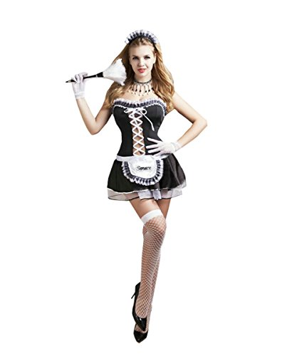 [Candygirl Womens Cute French Maid Outfit Lingerie Costume Uniform Set(6Piece)] (Candy Woman Costumes)