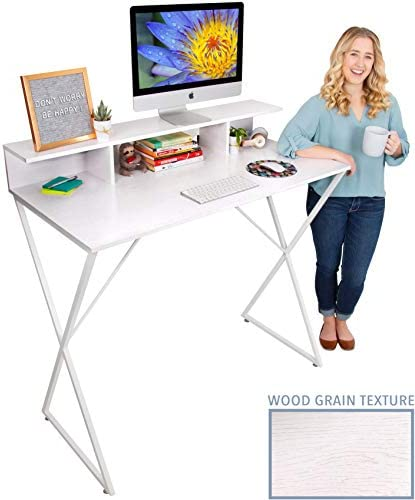 Stand Steady Joy Desk Modern Standing Workstation with Storage Cubbies Pretty Standing Desk w Spacious Desktop Multifunctional Table – Great for Home, Office More White Wood Grain 48 x 42