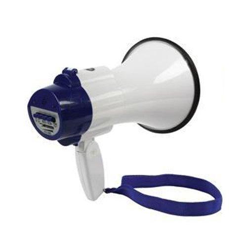 Megafon, 10 W, Pistolengriff, Lautsprecher, Sirene, mit Aufnahme und Musik, blau arsuk