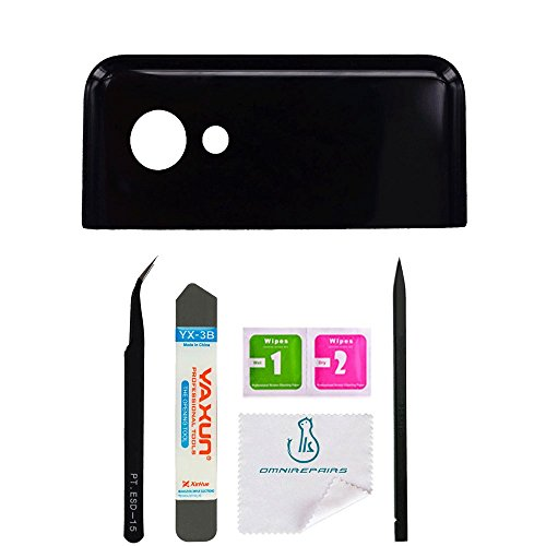 OmniRepairs Rear Facing Camera Lens Glass Frame Back Cover Replacement for Google Pixel 2 XL with Pre-Installed Adhesive and Repair Toolkit (Pixel 2 XL Black)