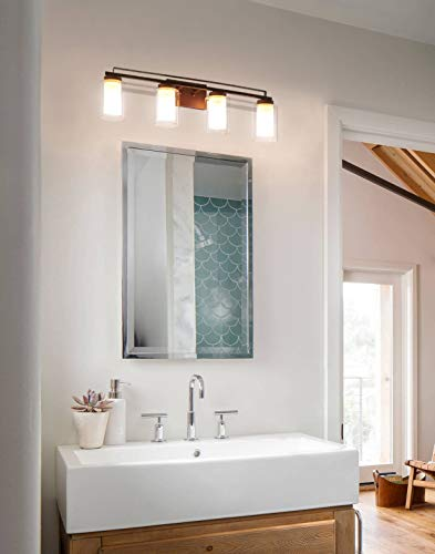 """Wall Light 4 Light Bathroom Vanity Lighting with Dual Glass Shade in Dark Bronze Indoor Wall Mount Light XiNBEi-Lighting… - DIMENSIONS: W: 34-1/4"""" x H: 9"""" extends 6-1/4"""" from the wall MEDIUM BASE SOCKET: Suggest to take four maximum 60 watt Medium base bulbs (incandescent, CFL or LED compatible). Bulbs not included FEATURE: Hardwired, Dark Bronze vanity light fixture with dual glass shade; Fixtures can be mounted as either up light or downlight. - bathroom-lights, bathroom-fixtures-hardware, bathroom - 41nHI4RTwvL -"""
