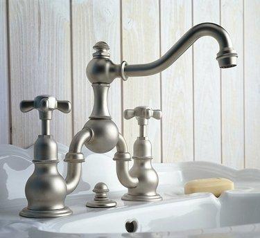 Herbeau 300360 Satin Nickel Royale Double Handle Widespread Bathroom Faucet with Metal Cross Handles from the Royale Series (Nickel Royale Double Handle)