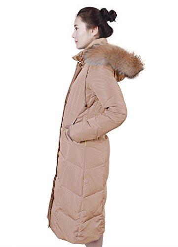 XIAOLV88 Women's Hooded Warm Racoon Fur Duck Long Down Coat Jacket Light Khaki