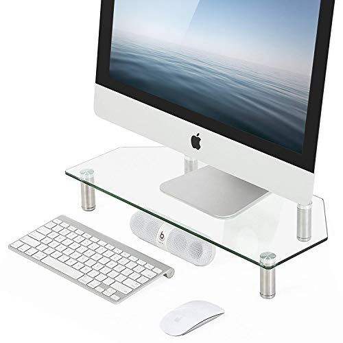 FITUEYES Monitor Stands Curved Glass Computer Risers with Height Adjustable for PC Monitors, Laptops, Computers & TVs,DT105002GC