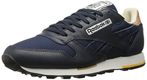 Reebok Men's Leather Casual Classic Shoe, Faux Indigo/Black/Walnut/Paper White/Fierce Gold/Chalk, 11 M US - Reebok Classic Black Gold