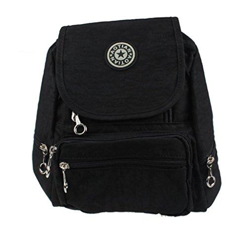 Malloom Ocio mochila mochila Colegio mochila senderismo bolsa mochila de nailon (negro) negro