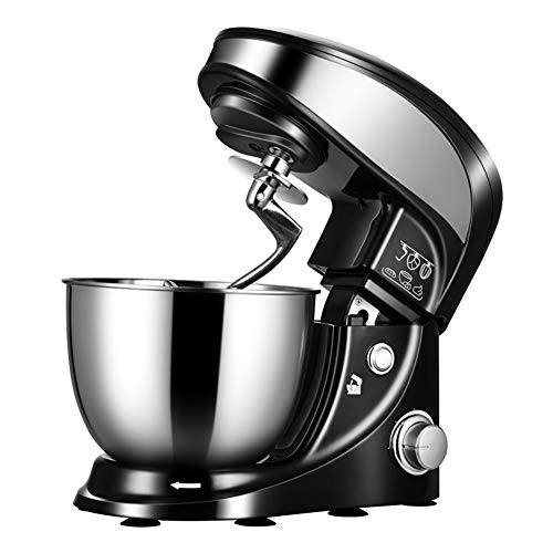 Stand Mixer, Food Mixer With 4L Stainless Steel Bowl, 800W 4-Speed Food Mixer, Dough Mixer With Dough Hooks, Whisk, Beater, Pouring Shield, Black