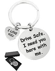 WazirianUAE Drive Safe I Need You Here With Me Keychain - Car Key Chain - Boyfriend Girlfriend Husband - Keychain for Men Women - Gifts