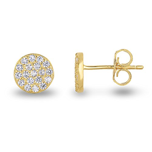 14k Yellow Gold-Plated Sterling Silver Cubic Zirconia Mini Circle Pave Disc Stud Earrings 6mm Diameter